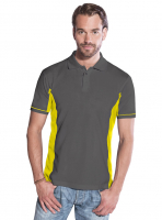 Promodoro Men Function Contrast Polo graphit - neongelb, Gr. 3XL