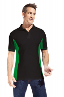 Promodoro Men Function Contrast Polo schwarz - kelly green, Gr. XL