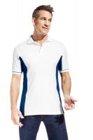 Promodoro Men´s Function Contrast Polo weiss - indigo blau, Gr. 3XL