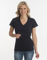 Damen T-Shirt Flash-Line, V-Neck, schwarz, Grösse 3XL
