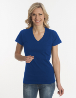 Damen T-Shirt Flash-Line, V-Neck, navy, 3XL