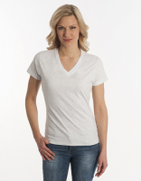 Damen T-Shirt Flash-Line, V-Neck, asche, Grösse L