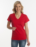 Damen T-Shirt Flash-Line, V-Neck, rot, Grösse L