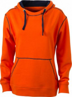 JN Ladie´s Lifestyle Zip-Hoody dark orange - navy , Grösse 2XL